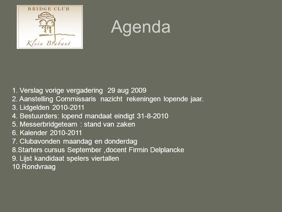 Agenda 1. Verslag vorige vergadering 29 aug 2009 2. Aanstelling Commissaris nazicht rekeningen lopende jaar. 3. Lidgelden 2010-2011 4. Bestuurders: lo