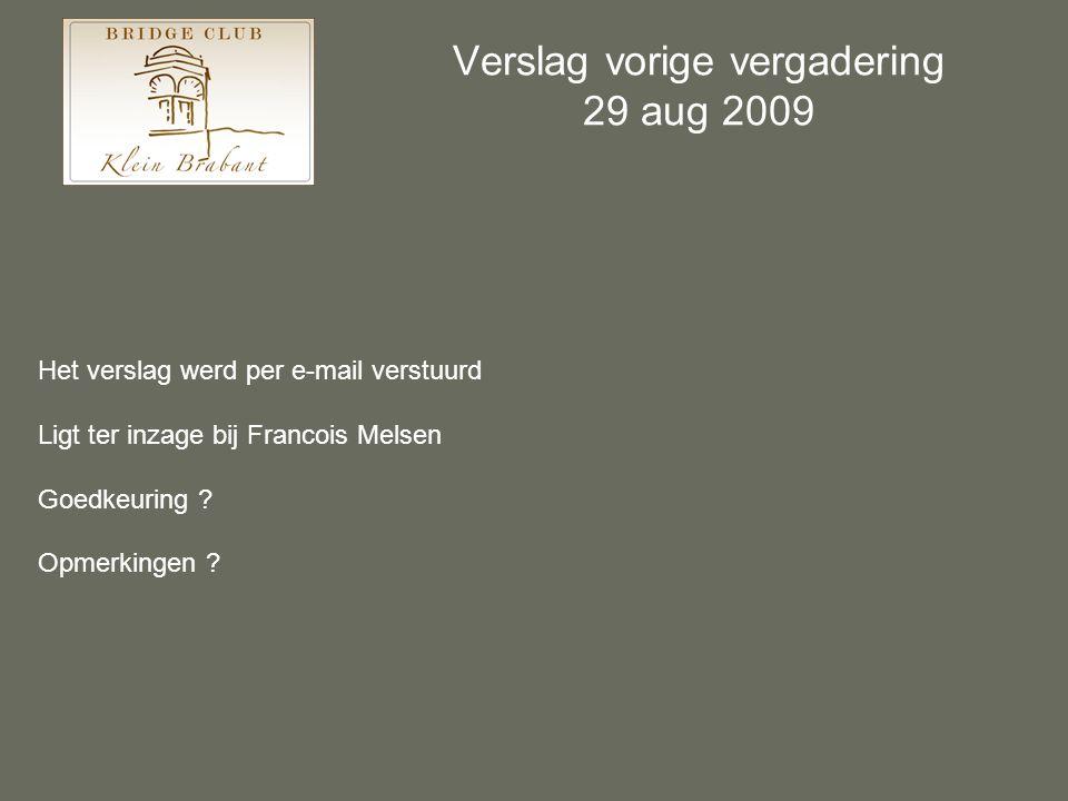 Verslag vorige vergadering 29 aug 2009 Het verslag werd per e-mail verstuurd Ligt ter inzage bij Francois Melsen Goedkeuring ? Opmerkingen ?