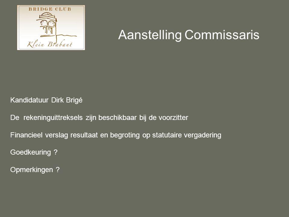 Aanstelling Commissaris Kandidatuur Dirk Brigé De rekeninguittreksels zijn beschikbaar bij de voorzitter Financieel verslag resultaat en begroting op