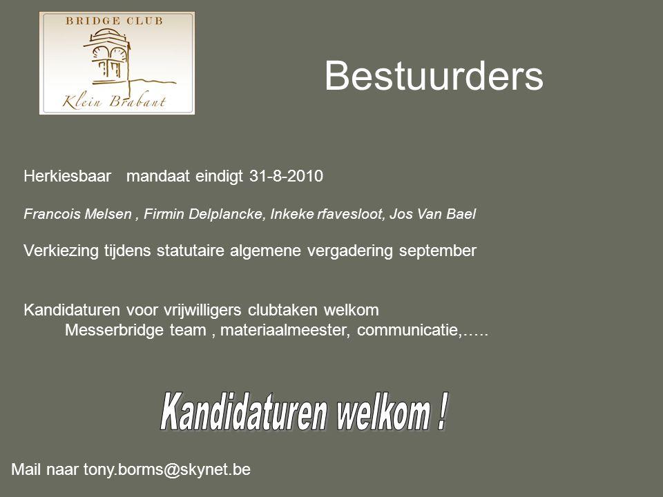 Bestuurders Herkiesbaar mandaat eindigt 31-8-2010 Francois Melsen, Firmin Delplancke, Inkeke rfavesloot, Jos Van Bael Verkiezing tijdens statutaire al