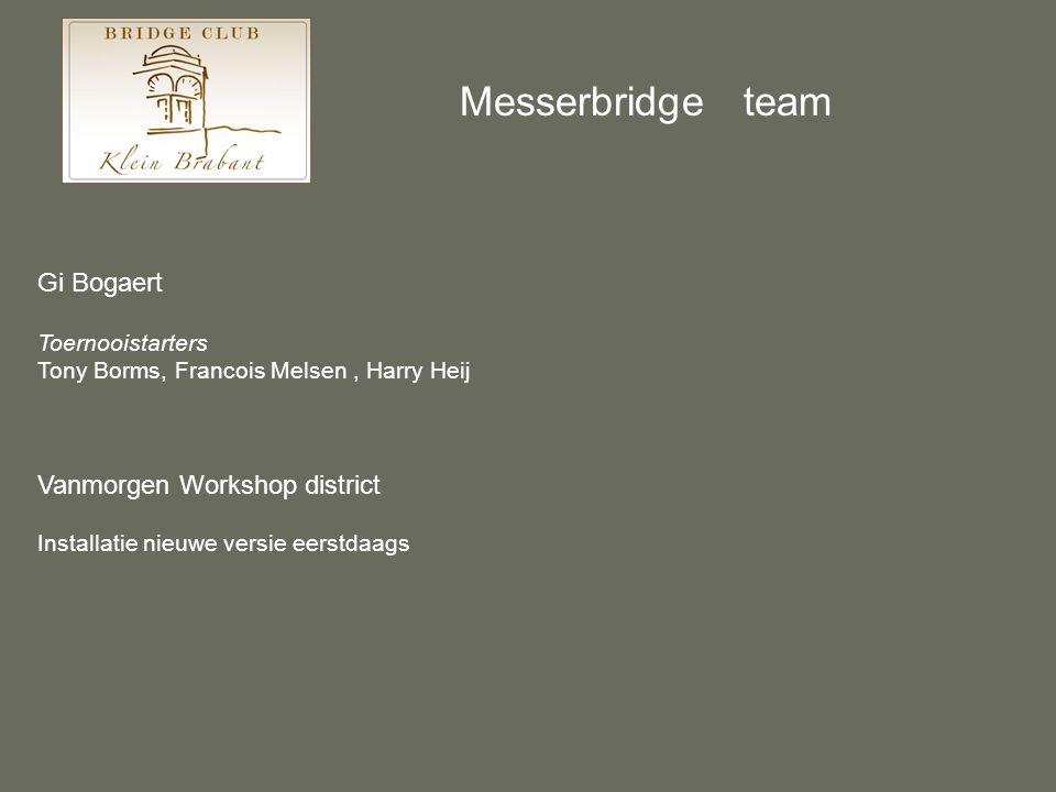 Gi Bogaert Toernooistarters Tony Borms, Francois Melsen, Harry Heij Vanmorgen Workshop district Installatie nieuwe versie eerstdaags Messerbridge team