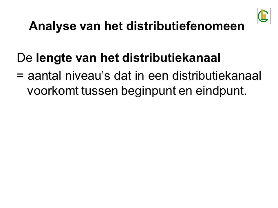 De lengte van het distributiekanaal = aantal niveau's dat in een distributiekanaal voorkomt tussen beginpunt en eindpunt.