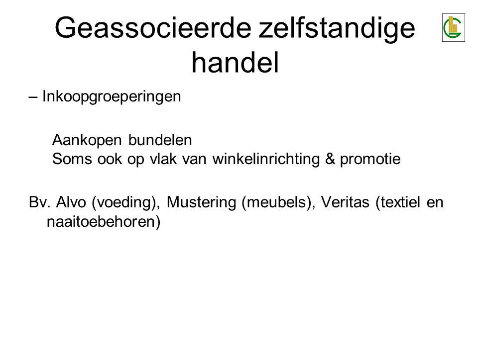 Geassocieerde zelfstandige handel – Inkoopgroeperingen Aankopen bundelen Soms ook op vlak van winkelinrichting & promotie Bv.