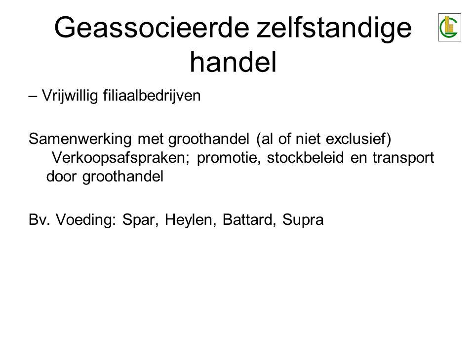 Geassocieerde zelfstandige handel – Vrijwillig filiaalbedrijven Samenwerking met groothandel (al of niet exclusief) Verkoopsafspraken; promotie, stockbeleid en transport door groothandel Bv.