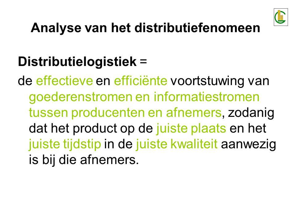 Distributielogistiek = de effectieve en efficiënte voortstuwing van goederenstromen en informatiestromen tussen producenten en afnemers, zodanig dat het product op de juiste plaats en het juiste tijdstip in de juiste kwaliteit aanwezig is bij die afnemers.