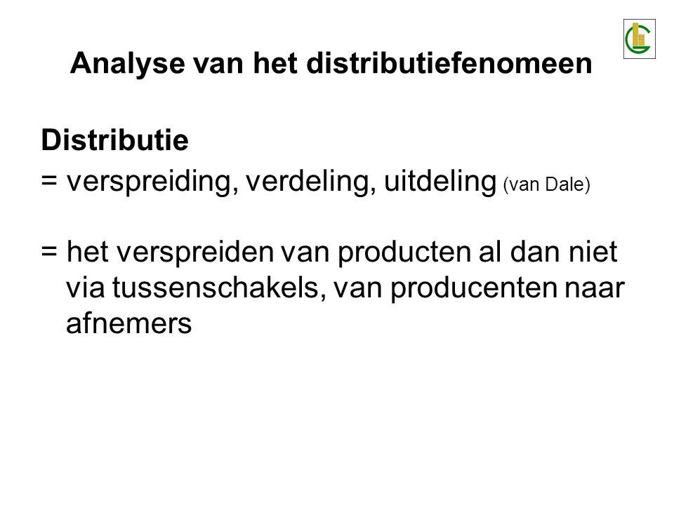 Distributie = verspreiding, verdeling, uitdeling (van Dale) = het verspreiden van producten al dan niet via tussenschakels, van producenten naar afnemers Analyse van het distributiefenomeen