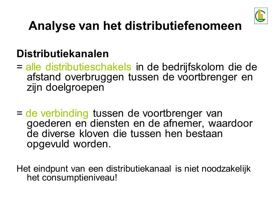 Distributiekanalen = alle distributieschakels in de bedrijfskolom die de afstand overbruggen tussen de voortbrenger en zijn doelgroepen = de verbinding tussen de voortbrenger van goederen en diensten en de afnemer, waardoor de diverse kloven die tussen hen bestaan opgevuld worden.