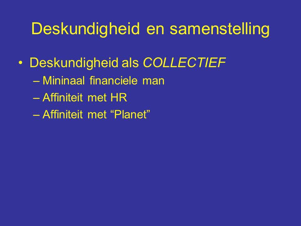 Deskundigheid en samenstelling Deskundigheid als COLLECTIEF –Mininaal financiele man –Affiniteit met HR –Affiniteit met Planet