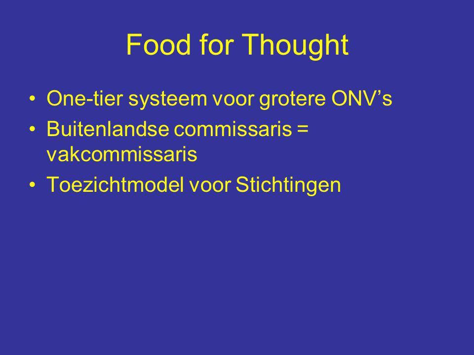 Food for Thought One-tier systeem voor grotere ONV's Buitenlandse commissaris = vakcommissaris Toezichtmodel voor Stichtingen