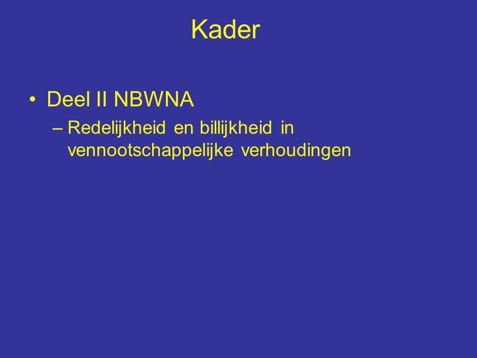 Kader Deel II NBWNA –Redelijkheid en billijkheid in vennootschappelijke verhoudingen