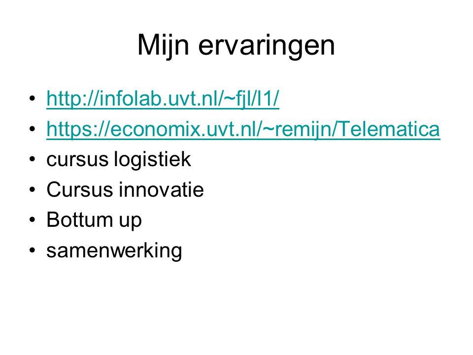Mijn ervaringen http://infolab.uvt.nl/~fjl/l1/ https://economix.uvt.nl/~remijn/Telematica cursus logistiek Cursus innovatie Bottum up samenwerking