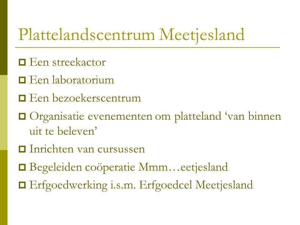 Plattelandscentrum Meetjesland  Een streekactor  Een laboratorium  Een bezoekerscentrum  Organisatie evenementen om platteland 'van binnen uit te