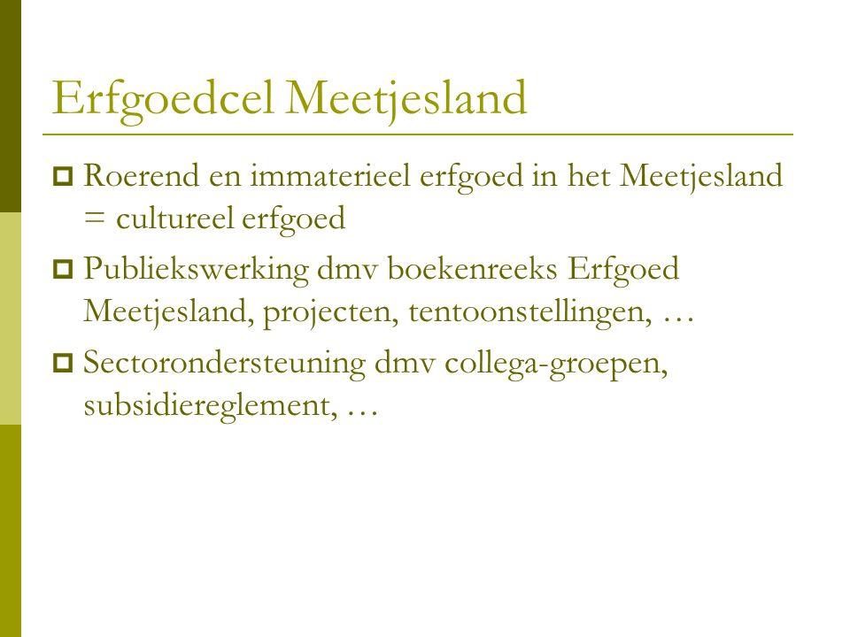 Erfgoedcel Meetjesland  Roerend en immaterieel erfgoed in het Meetjesland = cultureel erfgoed  Publiekswerking dmv boekenreeks Erfgoed Meetjesland,