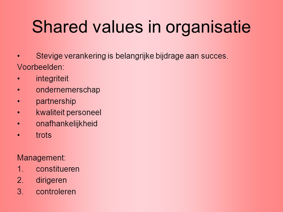 Voorbeeld strategische management cursus (vervolg) Financial Financial BCG development matrix Review of financial ratios including an Extended DuPont model Using the value-over-time curve for assessing financial attractiveness Developing budgets and forecasts Overhead analysis and costing including Activity Based Costing (ABC) Discounted Cash Flow (DCF) for investment decisions Review the concepts of Shareholder Value Developmental and change Kotter's eight stages of change Peter Senge – The Fifth Discipline Project and programme planning The Deming cycle Introducing force field and stakeholder analysis Applying Attractiveness-Implementation-Difficulty (AID) analysis Process Mapping Impact and resource analysis Mind mapping and usefulness to the creative process Adopting the process of ICEDIP for creative option building