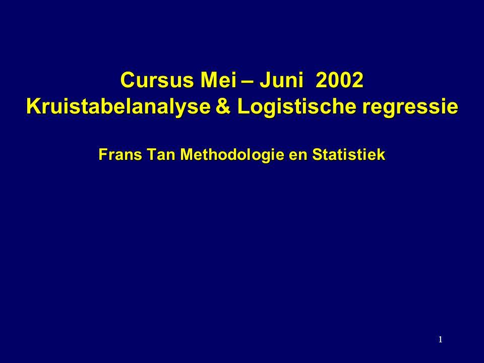 1 Cursus Mei – Juni 2002 Kruistabelanalyse & Logistische regressie Frans Tan Methodologie en Statistiek