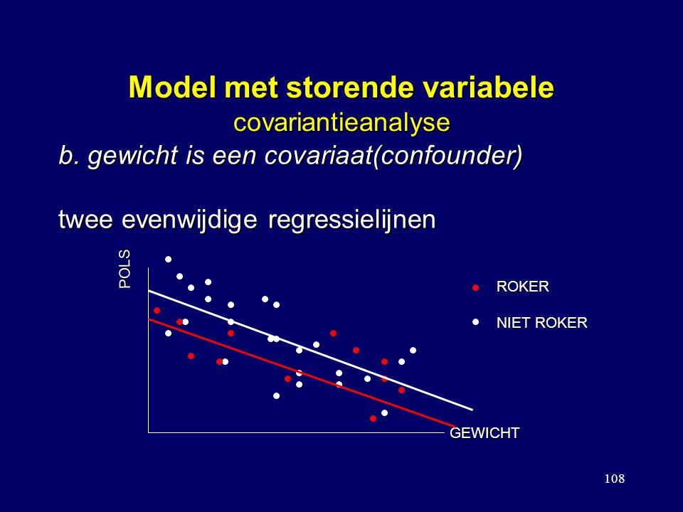 108 Model met storende variabele covariantieanalyse b. gewicht is een covariaat(confounder) twee evenwijdige regressielijnen POLS GEWICHT ROKER NIET R