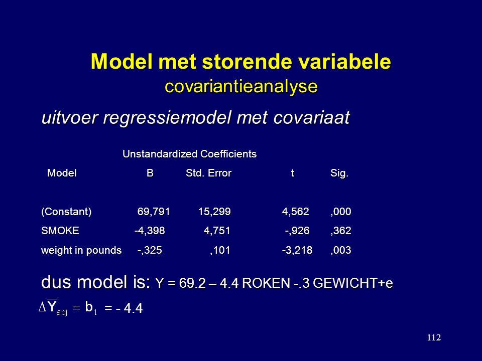 112 Model met storende variabele covariantieanalyse Unstandardized Coefficients Model BStd. Error tSig. Model BStd. Error tSig. (Constant)69,791 15,29
