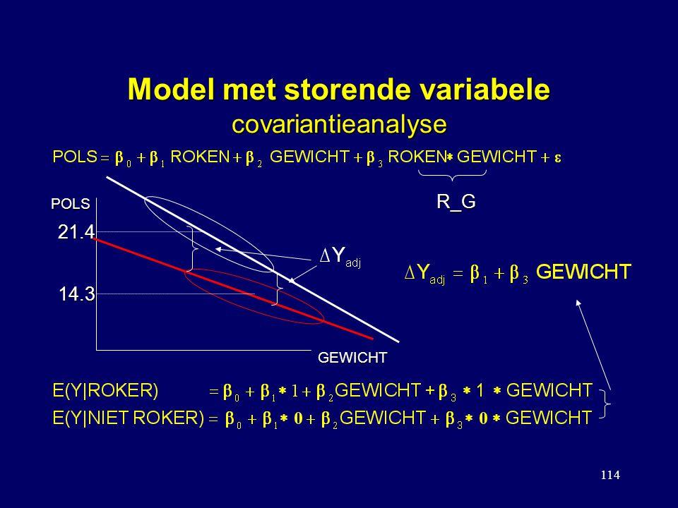 114 Model met storende variabele covariantieanalyse POLS GEWICHT 21.4 14.3 R_G