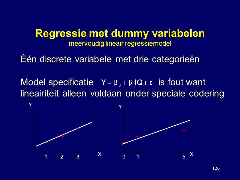 126 Regressie met dummy variabelen meervoudig lineair regressiemodel Één discrete variabele met drie categorieën Y Y XX 123015 Model specificatie is f
