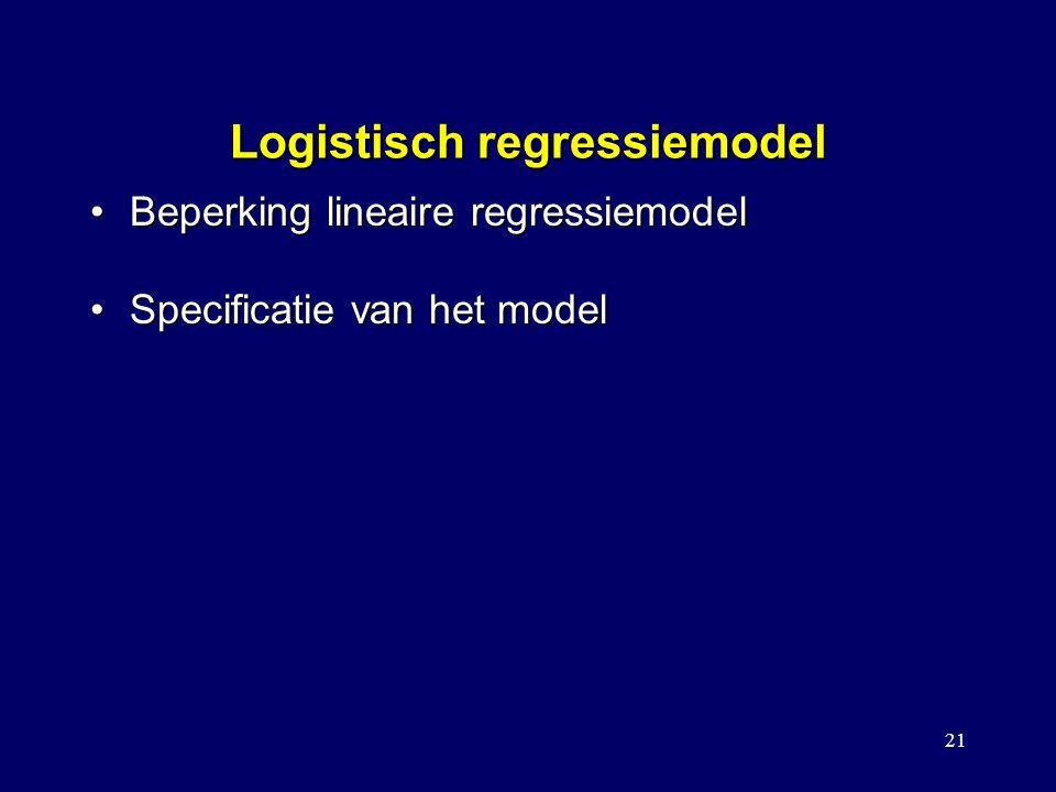 21 Logistisch regressiemodel Beperking lineaire regressiemodelBeperking lineaire regressiemodel Specificatie van het modelSpecificatie van het model Vergelijking met een kruistabelanalyse Model met covariaat/interactie Toetsen voor het vergelijken tussen modellen Stapsgewijze logistische regressie