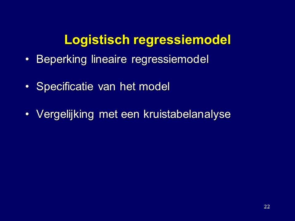 22 Logistisch regressiemodel Beperking lineaire regressiemodelBeperking lineaire regressiemodel Specificatie van het modelSpecificatie van het model Vergelijking met een kruistabelanalyseVergelijking met een kruistabelanalyse Model met covariaat/interactie Toetsen voor het vergelijken tussen modellen Stapsgewijze logistische regressie