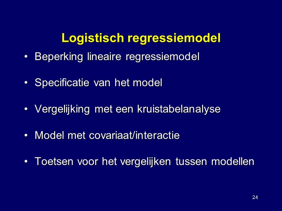 24 Logistisch regressiemodel Beperking lineaire regressiemodelBeperking lineaire regressiemodel Specificatie van het modelSpecificatie van het model Vergelijking met een kruistabelanalyseVergelijking met een kruistabelanalyse Model met covariaat/interactieModel met covariaat/interactie Toetsen voor het vergelijken tussen modellenToetsen voor het vergelijken tussen modellen Stapsgewijze logistische regressie