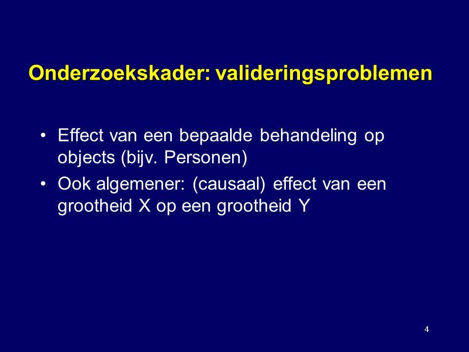 4 Onderzoekskader: valideringsproblemen Effect van een bepaalde behandeling op objects (bijv. Personen) Ook algemener: (causaal) effect van een grooth