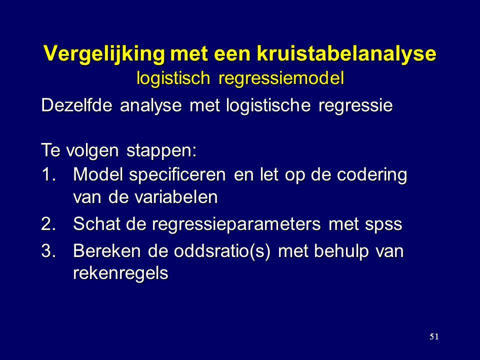 51 Vergelijking met een kruistabelanalyse logistisch regressiemodel 1.Model specificeren en let op de codering van de variabelen 2.Schat de regressieparameters met spss 3.Bereken de oddsratio(s) met behulp van rekenregels Dezelfde analyse met logistische regressie Te volgen stappen: