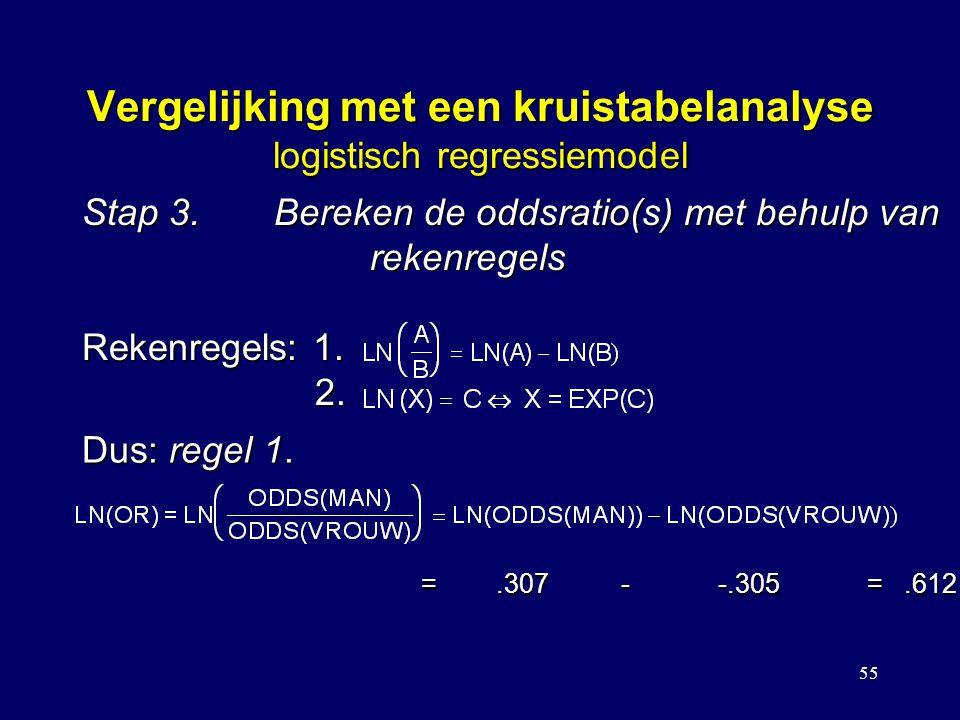55 Vergelijking met een kruistabelanalyse logistisch regressiemodel Stap 3.Bereken de oddsratio(s) met behulp van rekenregels Rekenregels: 1. 2. Dus:
