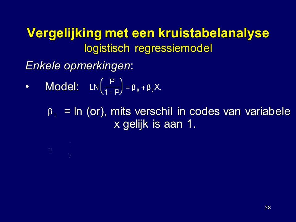 58 Vergelijking met een kruistabelanalyse logistisch regressiemodel Model: = ln (or), mits verschil in codes van variabele x gelijk is aan 1.Model: = ln (or), mits verschil in codes van variabele x gelijk is aan 1.