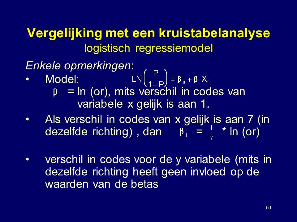 61 Vergelijking met een kruistabelanalyse logistisch regressiemodel Model: = ln (or), mits verschil in codes van variabele x gelijk is aan 1.Model: = ln (or), mits verschil in codes van variabele x gelijk is aan 1.