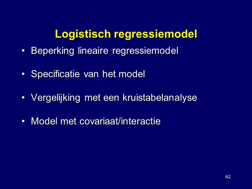 62 Logistisch regressiemodel Beperking lineaire regressiemodelBeperking lineaire regressiemodel Specificatie van het modelSpecificatie van het model Vergelijking met een kruistabelanalyseVergelijking met een kruistabelanalyse Model met covariaat/interactieModel met covariaat/interactie Toetsen voor het vergelijken tussen modellen Stapsgewijze logistische regressie