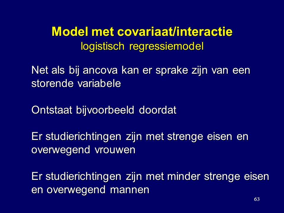 63 Model met covariaat/interactie logistisch regressiemodel Net als bij ancova kan er sprake zijn van een storende variabele Ontstaat bijvoorbeeld doordat Er studierichtingen zijn met strenge eisen en overwegend vrouwen Er studierichtingen zijn met minder strenge eisen en overwegend mannen