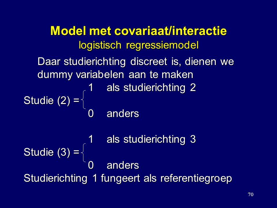 70 Model met covariaat/interactie logistisch regressiemodel Daar studierichting discreet is, dienen we dummy variabelen aan te maken 1als studierichting 2 1als studierichting 2 Studie (2) = 0anders 0anders 1als studierichting 3 1als studierichting 3 Studie (3) = 0anders 0anders Studierichting 1 fungeert als referentiegroep