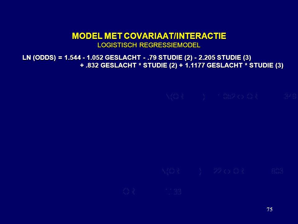 75 MODEL MET COVARIAAT/INTERACTIE LOGISTISCH REGRESSIEMODEL LN (ODDS) = 1.544 - 1.052 GESLACHT -.79 STUDIE (2) - 2.205 STUDIE (3) +.832 GESLACHT * STUDIE (2) + 1.1177 GESLACHT * STUDIE (3) +.832 GESLACHT * STUDIE (2) + 1.1177 GESLACHT * STUDIE (3) OR VOOR STUDIERICHTING 1: LN(ODDS{M,ST1}) = 1.544-1.052 LN(ODDS{V,ST1})= 1.544 OR VOOR STUDIERICHTING 2: LN(ODDS{M,ST2}) = 1.544-1.052 -.79 +.832 LN(ODDS{V,ST2}) = 1.544 -.79 OP DEZELFDE MANIER