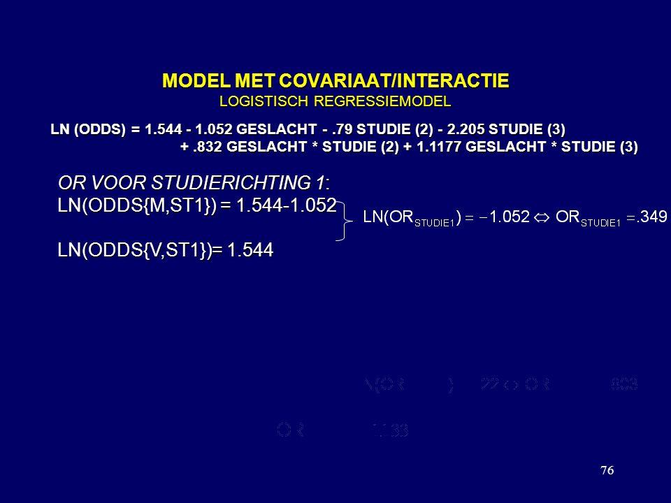 76 MODEL MET COVARIAAT/INTERACTIE LOGISTISCH REGRESSIEMODEL LN (ODDS) = 1.544 - 1.052 GESLACHT -.79 STUDIE (2) - 2.205 STUDIE (3) +.832 GESLACHT * STUDIE (2) + 1.1177 GESLACHT * STUDIE (3) +.832 GESLACHT * STUDIE (2) + 1.1177 GESLACHT * STUDIE (3) OR VOOR STUDIERICHTING 1: LN(ODDS{M,ST1}) = 1.544-1.052 LN(ODDS{V,ST1})= 1.544 OR VOOR STUDIERICHTING 2: LN(ODDS{M,ST2}) = 1.544-1.052 -.79 +.832 LN(ODDS{V,ST2}) = 1.544 -.79 OP DEZELFDE MANIER