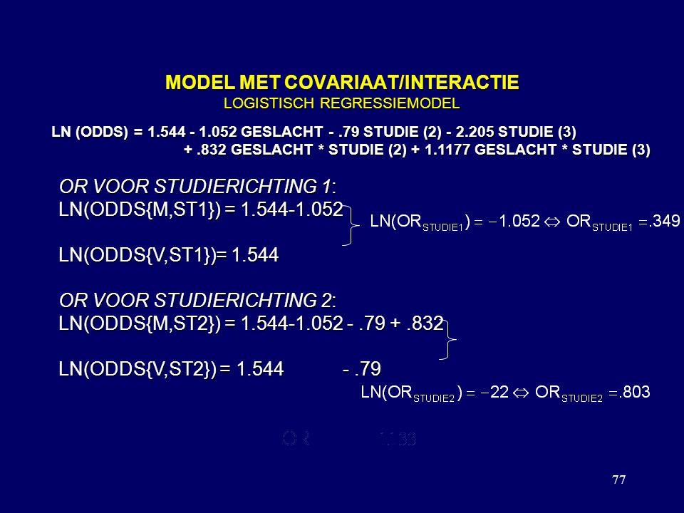 77 MODEL MET COVARIAAT/INTERACTIE LOGISTISCH REGRESSIEMODEL LN (ODDS) = 1.544 - 1.052 GESLACHT -.79 STUDIE (2) - 2.205 STUDIE (3) +.832 GESLACHT * STUDIE (2) + 1.1177 GESLACHT * STUDIE (3) +.832 GESLACHT * STUDIE (2) + 1.1177 GESLACHT * STUDIE (3) OR VOOR STUDIERICHTING 1: LN(ODDS{M,ST1}) = 1.544-1.052 LN(ODDS{V,ST1})= 1.544 OR VOOR STUDIERICHTING 2: LN(ODDS{M,ST2}) = 1.544-1.052 -.79 +.832 LN(ODDS{V,ST2}) = 1.544 -.79 OP DEZELFDE MANIER
