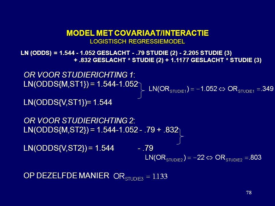 78 MODEL MET COVARIAAT/INTERACTIE LOGISTISCH REGRESSIEMODEL LN (ODDS) = 1.544 - 1.052 GESLACHT -.79 STUDIE (2) - 2.205 STUDIE (3) +.832 GESLACHT * STUDIE (2) + 1.1177 GESLACHT * STUDIE (3) +.832 GESLACHT * STUDIE (2) + 1.1177 GESLACHT * STUDIE (3) OR VOOR STUDIERICHTING 1: LN(ODDS{M,ST1}) = 1.544-1.052 LN(ODDS{V,ST1})= 1.544 OR VOOR STUDIERICHTING 2: LN(ODDS{M,ST2}) = 1.544-1.052 -.79 +.832 LN(ODDS{V,ST2}) = 1.544 -.79 OP DEZELFDE MANIER