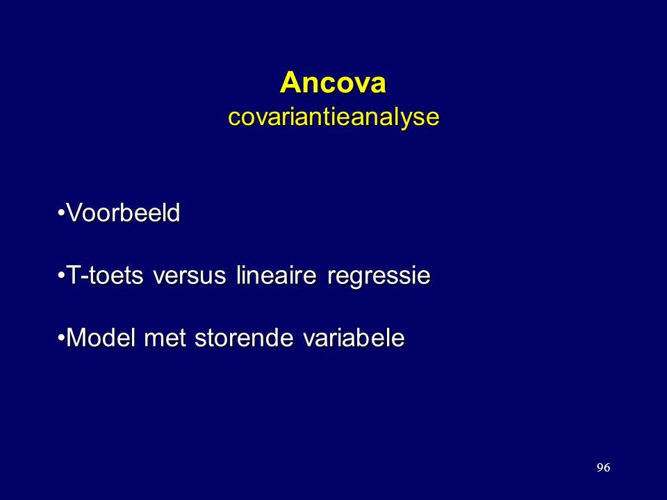 96 Ancova covariantieanalyse VoorbeeldVoorbeeld T-toets versus lineaire regressieT-toets versus lineaire regressie Model met storende variabeleModel m