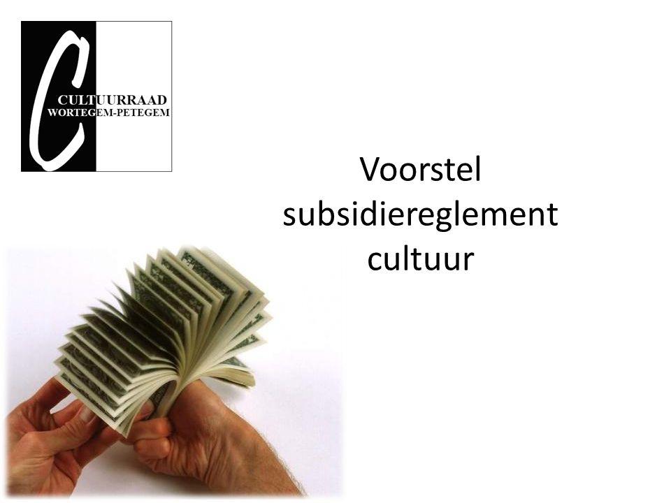 Waarde van een punt Twee mogelijkheden vaste waarde aan een punt vast te indexeren budget cultuur te verdelen zie voorbeeld Maarkedal (na 7 jaar werking)