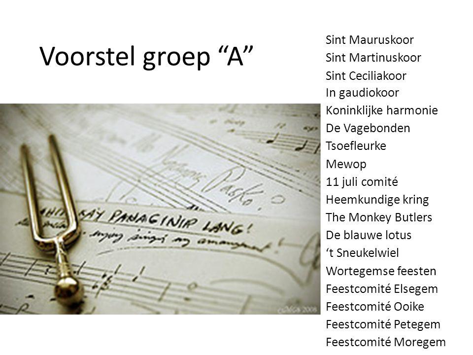 """Voorstel groep """"A"""" Sint Mauruskoor Sint Martinuskoor Sint Ceciliakoor In gaudiokoor Koninklijke harmonie De Vagebonden Tsoefleurke Mewop 11 juli comit"""