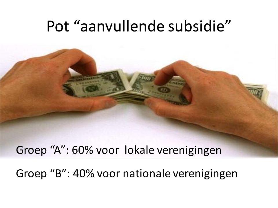 """Pot """"aanvullende subsidie"""" Groep """"A"""": 60% voor lokale verenigingen Groep """"B"""": 40% voor nationale verenigingen"""