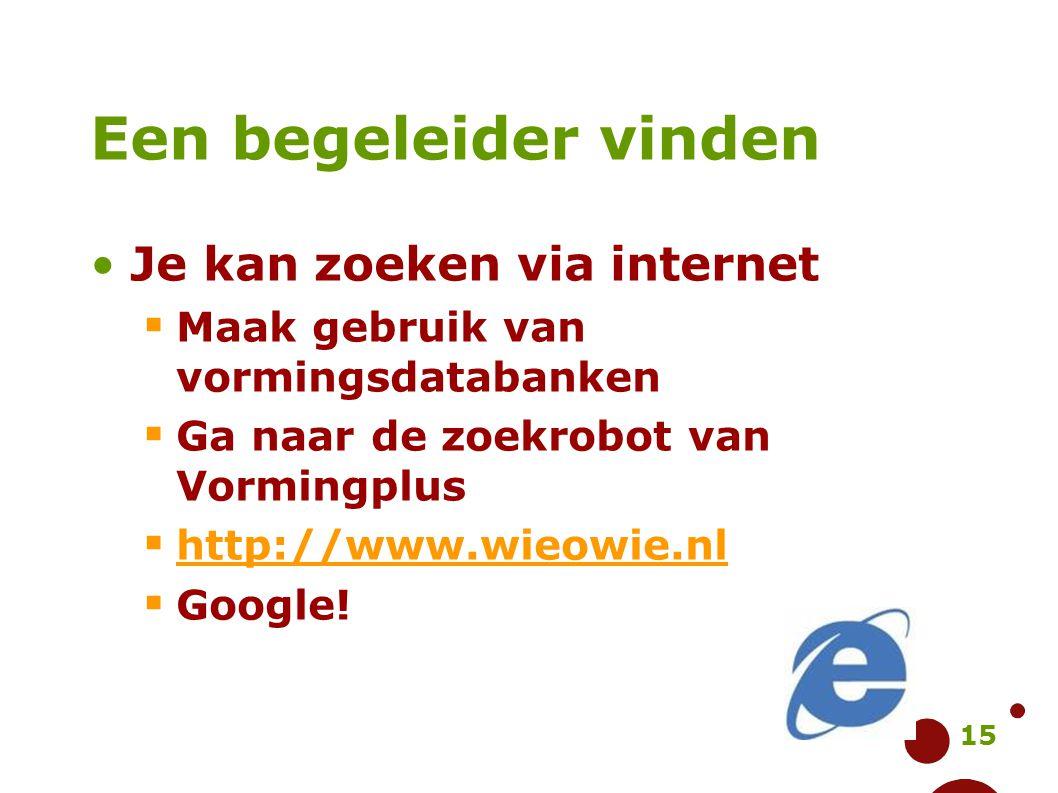 15 Een begeleider vinden Je kan zoeken via internet  Maak gebruik van vormingsdatabanken  Ga naar de zoekrobot van Vormingplus  http://www.wieowie.