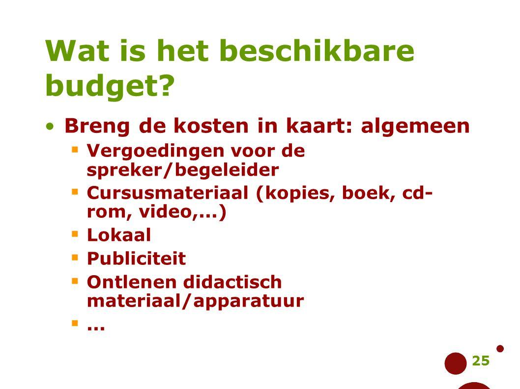 25 Wat is het beschikbare budget? Breng de kosten in kaart: algemeen  Vergoedingen voor de spreker/begeleider  Cursusmateriaal (kopies, boek, cd- ro