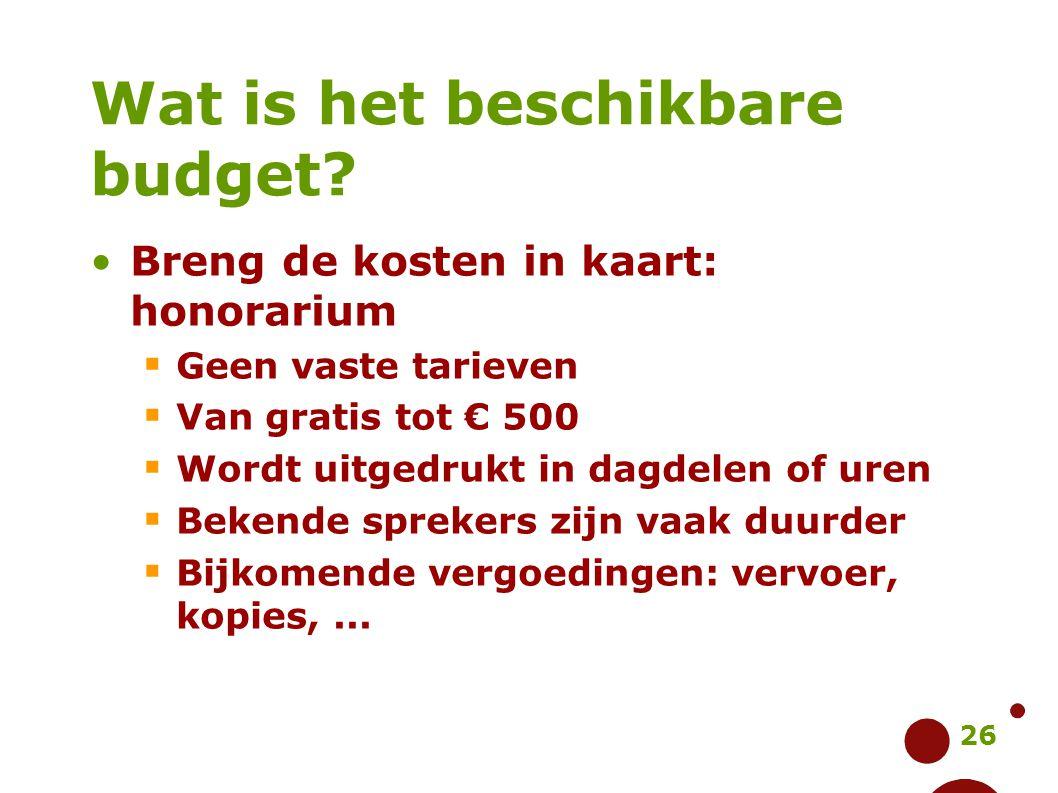 26 Wat is het beschikbare budget? Breng de kosten in kaart: honorarium  Geen vaste tarieven  Van gratis tot € 500  Wordt uitgedrukt in dagdelen of