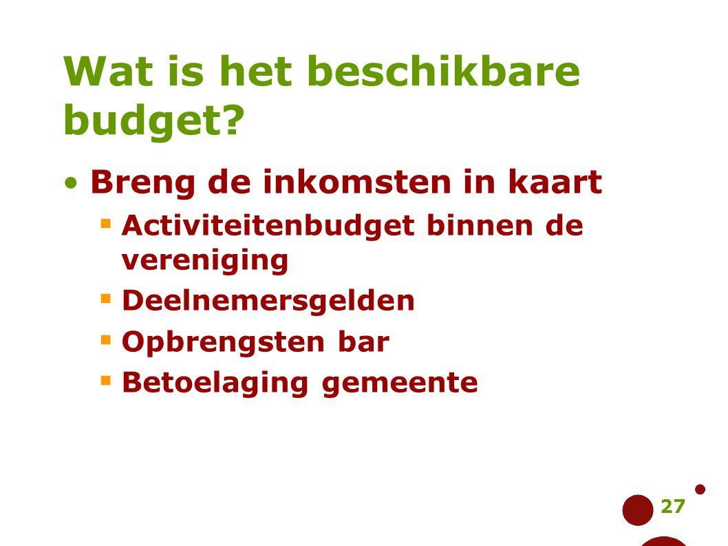 27 Wat is het beschikbare budget? Breng de inkomsten in kaart  Activiteitenbudget binnen de vereniging  Deelnemersgelden  Opbrengsten bar  Betoela