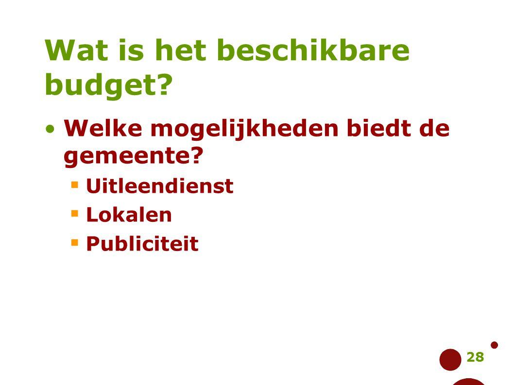 28 Wat is het beschikbare budget? Welke mogelijkheden biedt de gemeente?  Uitleendienst  Lokalen  Publiciteit