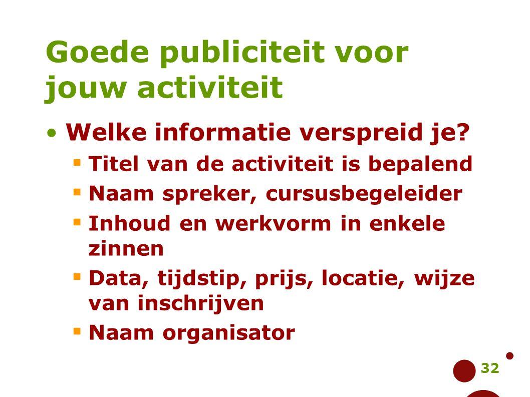 32 Goede publiciteit voor jouw activiteit Welke informatie verspreid je?  Titel van de activiteit is bepalend  Naam spreker, cursusbegeleider  Inho