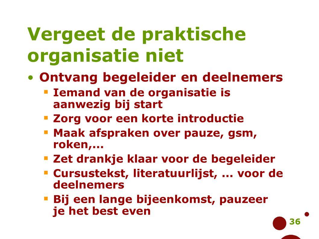 36 Vergeet de praktische organisatie niet Ontvang begeleider en deelnemers  Iemand van de organisatie is aanwezig bij start  Zorg voor een korte int