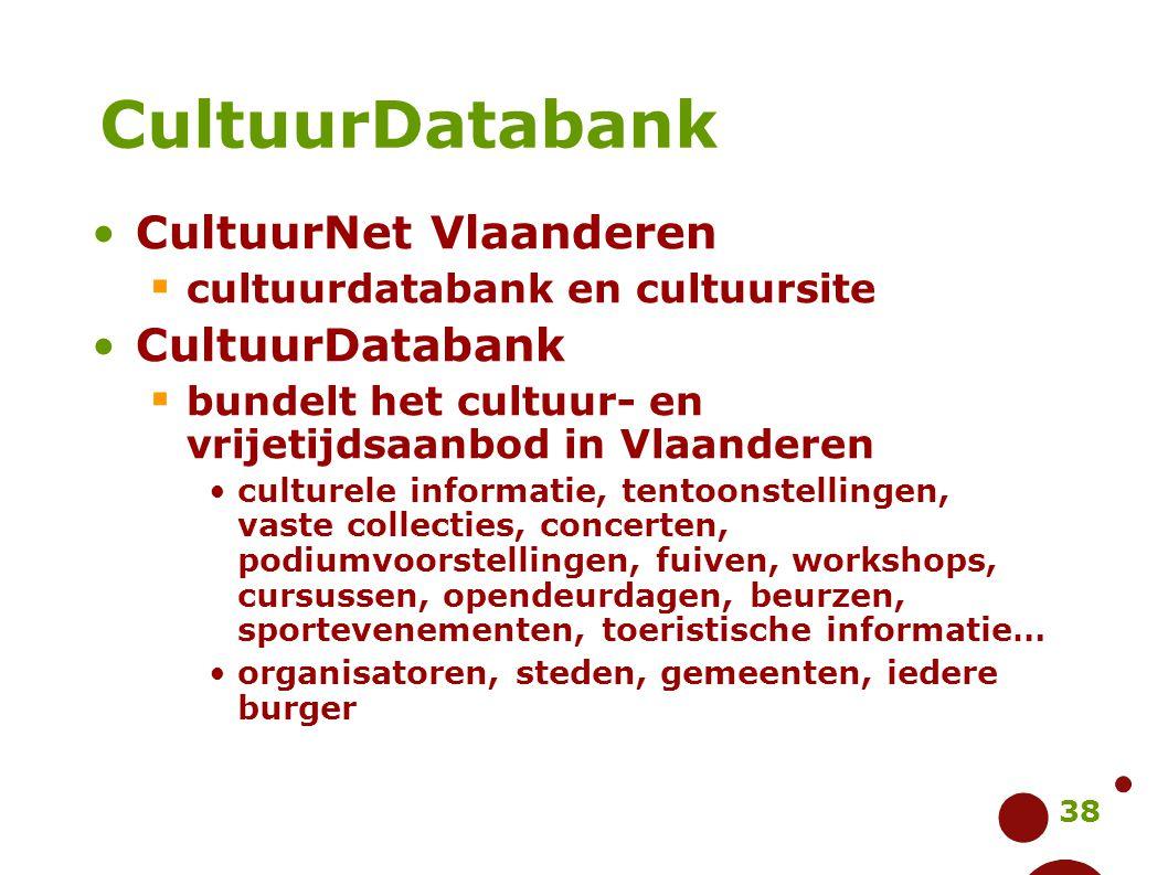 38 CultuurNet Vlaanderen  cultuurdatabank en cultuursite CultuurDatabank  bundelt het cultuur- en vrijetijdsaanbod in Vlaanderen culturele informati